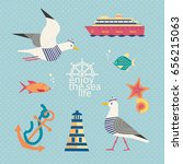 nautical poster concept. set of ... | Shutterstock .eps vector #656215063