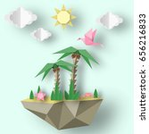 summer origami art applique.... | Shutterstock .eps vector #656216833