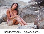 beautiful woman relaxes on a... | Shutterstock . vector #656225593
