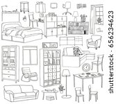 vector set of modern furniture... | Shutterstock .eps vector #656234623