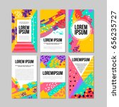 Set of brush strokes colorful  trendy card. Hand drawn creative flayers, abstract design poster, cover, design. Vector illustration. Lorem ipsum | Shutterstock vector #656235727