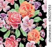seamless pattern with flowers.... | Shutterstock . vector #656237053