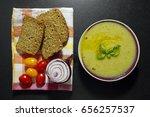 zucchini cream soup and whole... | Shutterstock . vector #656257537