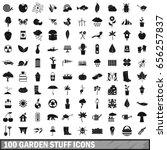 100 garden stuff icons set in... | Shutterstock .eps vector #656257837
