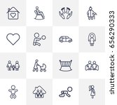 set of 16 people outline icons... | Shutterstock .eps vector #656290333
