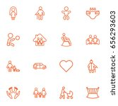 set of 16 family outline icons... | Shutterstock .eps vector #656293603