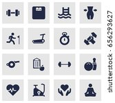 set of 16 fitness icons set... | Shutterstock .eps vector #656293627