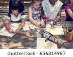 group of children drawing... | Shutterstock . vector #656314987