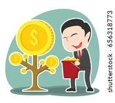 asian businessman harvesting... | Shutterstock . vector #656318773