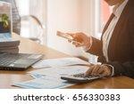 a business woman analyzing... | Shutterstock . vector #656330383