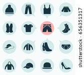 clothes icons set. collection... | Shutterstock .eps vector #656351317