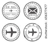 mail stamps for envelopes.... | Shutterstock . vector #656377477