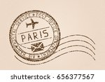 Paris Mail Stamp. Old Faded...