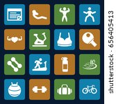 fitness icons set. set of 16