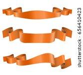orange ribbon banners. shiny... | Shutterstock .eps vector #656410423