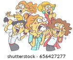 funny vector cartoon with group ... | Shutterstock .eps vector #656427277