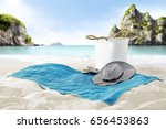 free space on towel on sand and ...   Shutterstock . vector #656453863