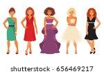 set of women in evening and... | Shutterstock .eps vector #656469217
