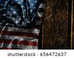 usa flag on a wood surface   Shutterstock . vector #656472637
