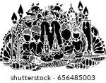 black vector of line art design ... | Shutterstock .eps vector #656485003