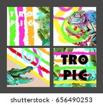 set of colorful cards with... | Shutterstock .eps vector #656490253