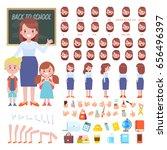 female teacher with pupils...   Shutterstock .eps vector #656496397