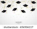 graduation hats with confetti.... | Shutterstock .eps vector #656506117