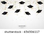graduation hats with confetti.... | Shutterstock .eps vector #656506117