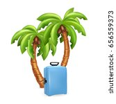 travel suitcase with palms... | Shutterstock .eps vector #656559373