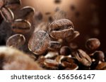 brown background of hot coffee... | Shutterstock . vector #656566147