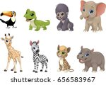 Stock vector vector illustration set of funny exotic animals on a white background 656583967