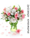 Beautiful bouquet alstroemeria and rose on white isolated background - stock photo