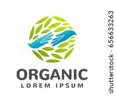 organic logo. leafs in hand... | Shutterstock .eps vector #656633263