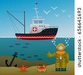 fisherman's ship in the open... | Shutterstock .eps vector #656641693