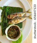 Small photo of Fried mackerel with spicy dip, get along well with steamed vegetable.