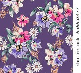 sketched flower print in purple ... | Shutterstock .eps vector #656653477