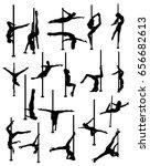 striptease silhouettes   Shutterstock .eps vector #656682613