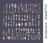 big set of hand drawn arrows... | Shutterstock .eps vector #656687713