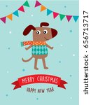 happy puppy dog merry christmas ... | Shutterstock .eps vector #656713717
