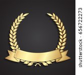 3d golden laurel wreath with... | Shutterstock .eps vector #656722273