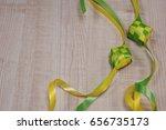 ketupat decoration on wooden