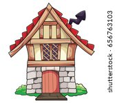 old cartoon small house with... | Shutterstock .eps vector #656763103
