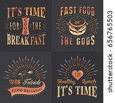 set of vintage fast food ... | Shutterstock . vector #656765503