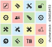 set of 16 editable tool icons.... | Shutterstock .eps vector #656818453