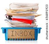Small photo of Procrastination - A full Inbox tray - Overwhelmed - Isolated on white background