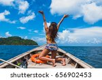 traveler woman in bikini... | Shutterstock . vector #656902453