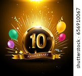 10 years golden anniversary... | Shutterstock .eps vector #656910067