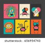 set of six retro postage s... | Shutterstock .eps vector #656954743