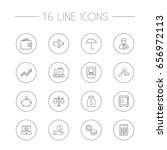 set of 16 budget outline icons... | Shutterstock .eps vector #656972113