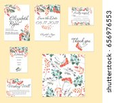 template cards set with... | Shutterstock . vector #656976553